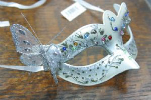 Silver Jewelled Masquerade Mask - Butterfly Mask | Masks and Tiaras